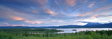 Panoramic Of Teslin Lake At Sunset, Teslin, Yukon
