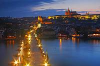 Night Lights Of Charles Bridge Prague Czech Repub