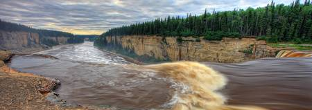 The Hay River Falling Over Alexandra Falls With Ha