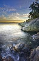 Rocky Shore At Sunset, Juan De Fuca Straight, Brit