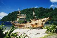 Papua New Guinea, Shipwrecked Fishing Boat On The