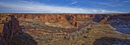 Panorama Of Canyon De Chelley In Mid Afternoon Lig