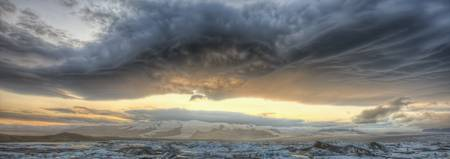 Panoramic View Of Lenticular Clouds, Iceland