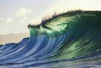 Hawaii, Oahu, North Shore Large Green Blue Wave A