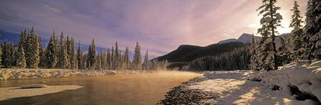 Winter Sunset On Bow River, Banff National Park, A