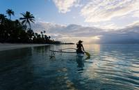 French Polynesia, Moorea, Woman Paddling In Outrig