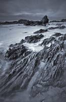 Black And White Of Rock Formations At Moro Beach,