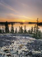 Sunset Over Subarctic Lake, Northwest Territories,