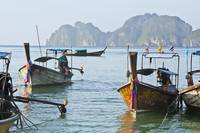 Thailand, Koh Phi Phi, Longtail boats along the sh