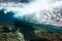 Micronesia, Yap, Underwater View Of Surf Crashing