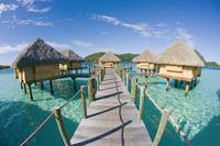 French Polynesia, Pearl Resort, Bungalows Over Bea