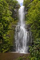 Hawaii, Maui, Wailua Falls, Large Falls With Lush