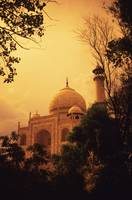 India, Taj Mahal At Dusk, Orange Skies And Dark Tr