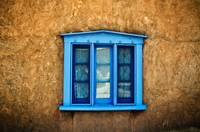 Blue Deep-Seated Window On Adobe Wall, New Mexico