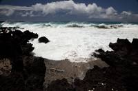 Hawaii, Maui, La Perouse, A Wave Breaks With Lave