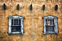 Two Windows On Adobe Wall, New Mexico