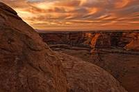Sunset Over The Rim Of Canyon De Chelley, Arizona,