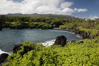 Hawaii, Maui, Black sand beach of Waianapanapa
