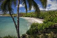 Hawaii, Maui, Hana, A sunny view of Hamoa Beach wi