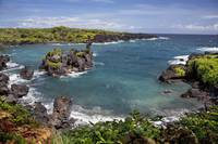 Hawaii, Maui, Hana, View of the Waianapanapa coast