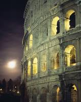Coliseum At Night With Full Moon