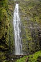 Hawaii, Maui, A waterfall in Kipahulu with lush fo