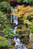 A Waterfall In The Portland Japanese Garden In Aut