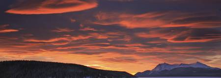 Red Lenticular Clouds Over Teslin Lake And Dawson