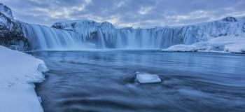 The Waterfall Godafoss In Northern Iceland Seen In