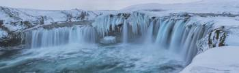 Godafoss With Large Pieces Of Ice Forming In The C