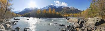 Panorama view of Rapids Camp along Eagle River in