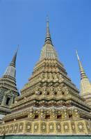 Thailand, Bangkok, Wat Po, Colorful Pointed Steepl
