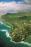 Hawaii, Oahu, Coastline Aerial Of Kahala Homes And