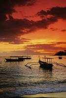Indonesia, Lombok, Senggigi, Boats On The Water At