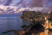 Hawaii, Oahu, Waikiki, View Of Waikiki At Night