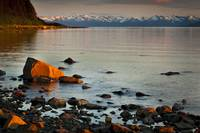 Scenic sunset view of Bartlett Cove, Glacier Bay N