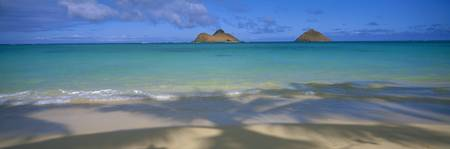 Hawaii, Oahu, Lanikai, Shoreline With Palm Shadows