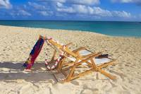 Hawaii, Oahu, Kailua, Two Lounge Chairs On The Whi