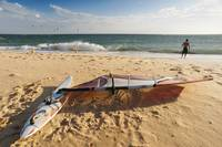 Man On The Beach With His Windsurfing Board, Andal