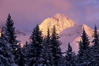 Chugach Mtns Bathed in Alpenglow Above Girdwood AK