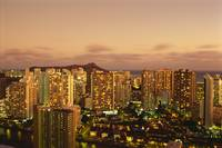 Hawaii, Oahu, Waikiki, Skyline At Twilight, Pink C