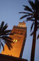 Minaret Of Koutoubia Mosque At Night, Marrakesh, M