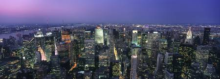Aerial View Of Midtown Manhattan Illuminated At Du