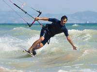 Kite Surfing In Front Of Hotel Dos Mares, Tarifa,