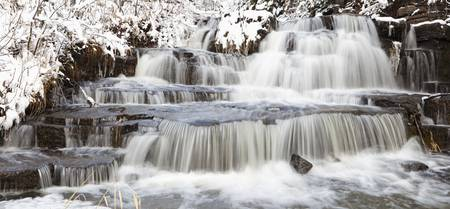 Waterfalls With Fresh Snow Thunder Bay, Ontario,