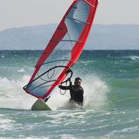A Man Windsurfing, Tarifa, Cadiz, Andalusia, Spain