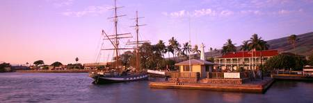 Hawaii, Maui, Lahaina Harbor With Brig Carthaginia