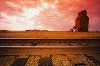 Railroad Track And Grain Elevator