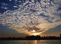 Clouds And Sky At Sunset Over The Nile River, Egyp
