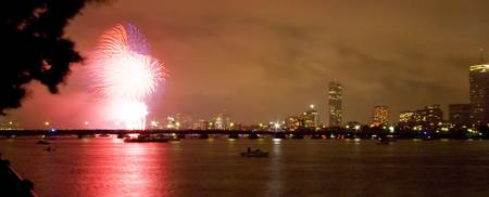 Fireworks by Harvard Bridge
